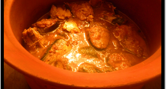 Delicious Fish curry recipe made in a pure clay pot.