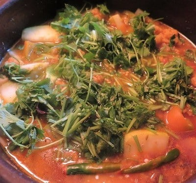 Image of Mixed Vegetable soup in clay pot