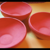 Unglazed, natural clay serving bowls